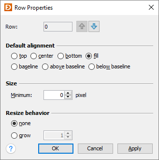 GridBagLayout row properties