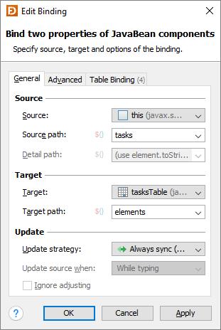 Beans Binding (JSR 295) | JFormDesigner - Java/Swing GUI
