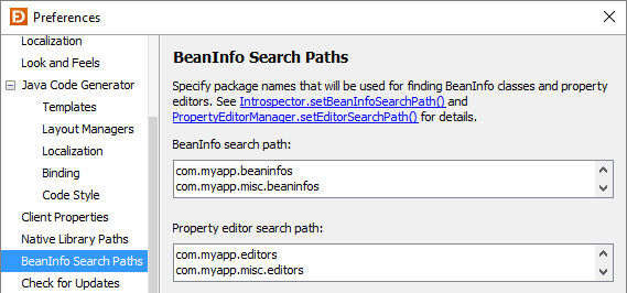 BeanInfo Search Paths