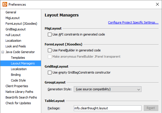 Layout Managers (Java Code Generator)