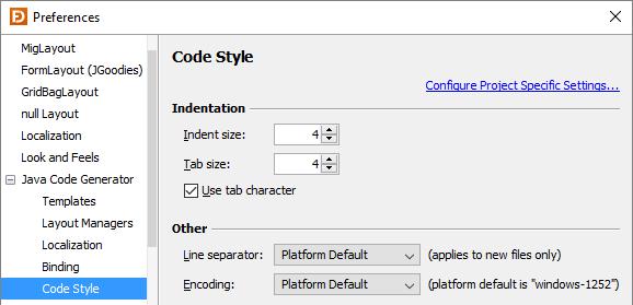 Preferences | JFormDesigner - Java/Swing GUI Designer