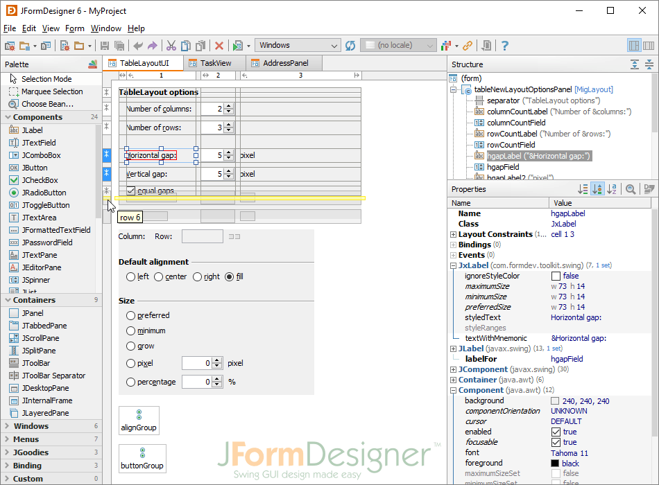 how to create a form in java swing